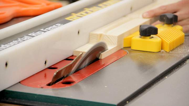A table saw is used to rip a bevel.