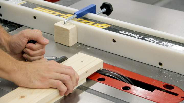 A table saw dado blade is used to cut a lap joint.