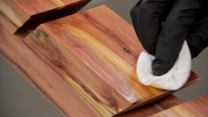 Polyurethane is applied to a cedar skateboard rack.
