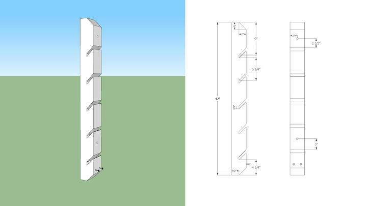 A 3D and 2D rendering of skateboard rack.