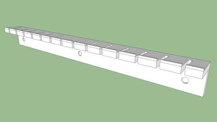 A Sketchup rendering of a clamp rack.