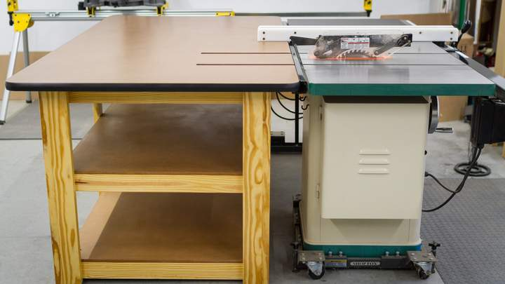 The completed workbench and table saw outfeed table.