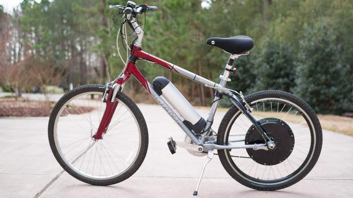 A Giant Sedona bike with a Magic Pie electric bike conversion kit installed.