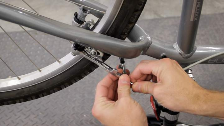 A bicycle brake cable connection.