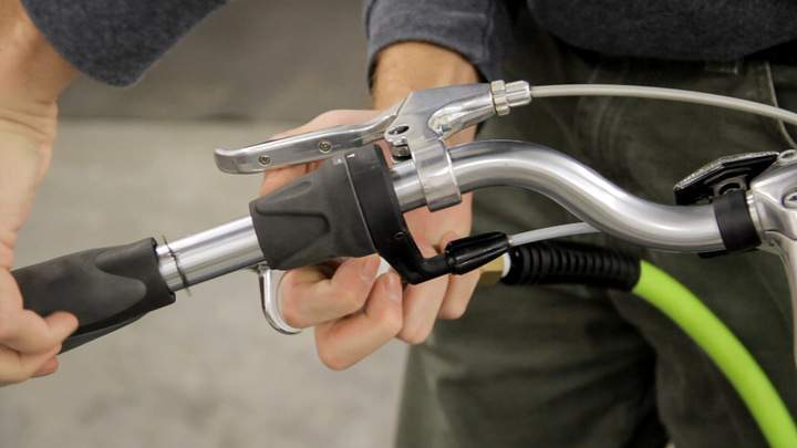 A compressed air sprayer is used to remove a bicycle handle grip.