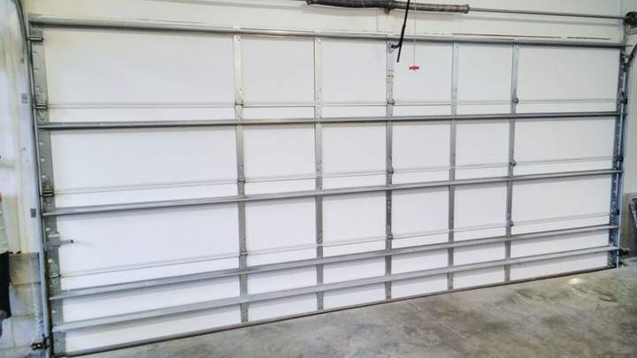 An insulated 2-car garage door.