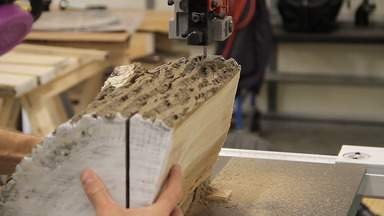 A bandsaw is used to cut a log.